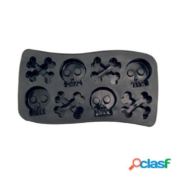 Skull & bone crossbones ice cube chocolate soap bandeja molde silicone party maker bar acessórios