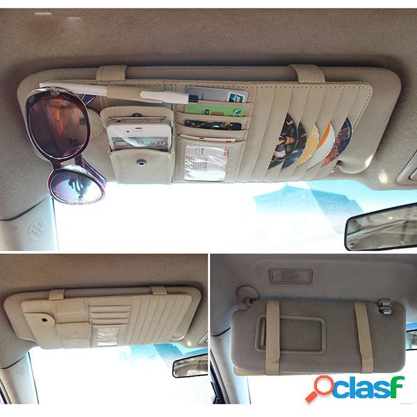 Armazenamento de carro bolsa pu couro cd titular sunscreen shade carriage bolsa
