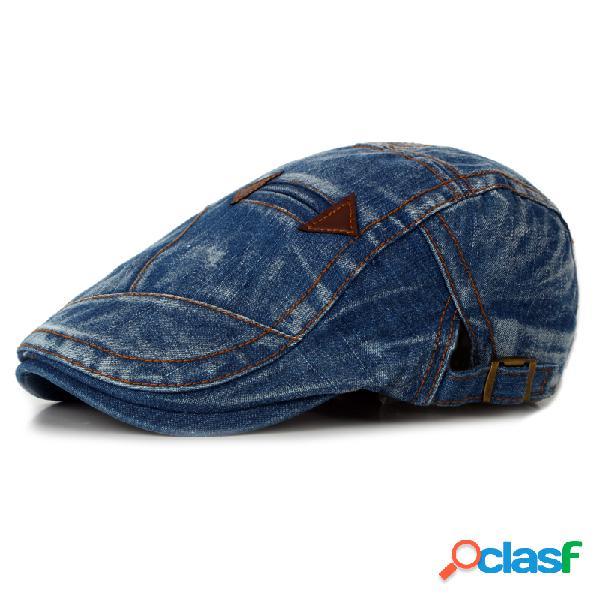 Chapéu de moda em verão lavados vintage denim beret chapéu casual plano chapéu para cowboy
