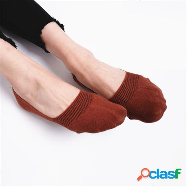 Mulheres algodão antiderrapante invisible barco meias verão fino respirável curto tornozelo meias