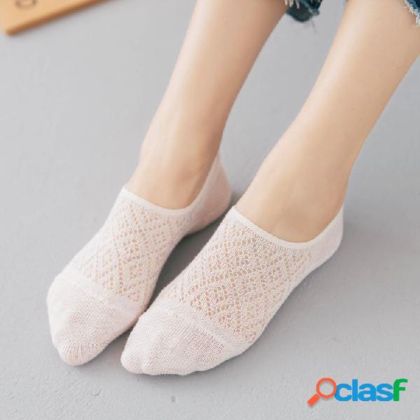Mulheres algodão antiderrapante invisível meias barco oco baixo corte fino respirável tornozelo meias