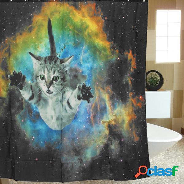 180 * 180 cm custom cat galaxy space theme à prova d'água banheiro cortina de chuveiro com ganchos