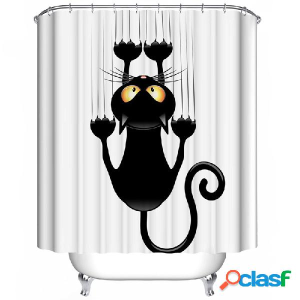 180x180cm the black cat theme impermeável fabric home decor cortina de chuveiro com ganchos