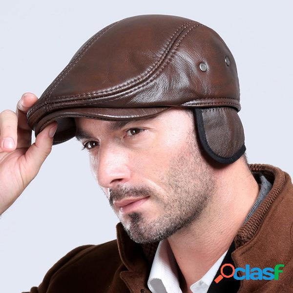 Boné boina clássico masculino de couro real com flap de orelhas para inverno e outdoor quente