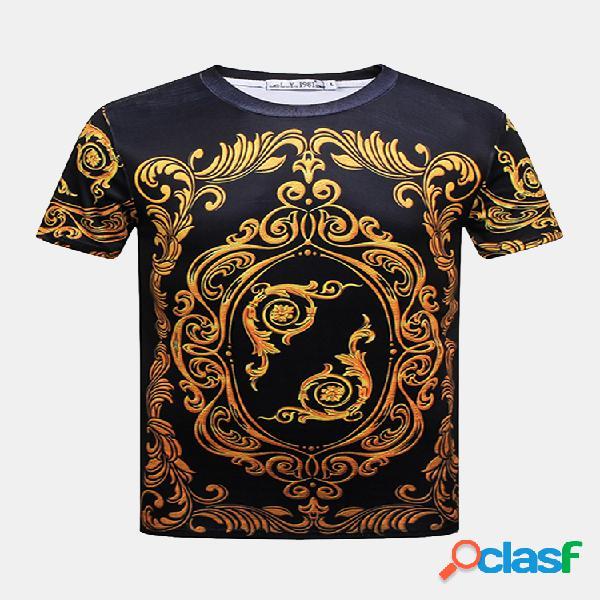 Mens summer creative 3d impresso em torno do pescoço de manga curta casual t-shirt