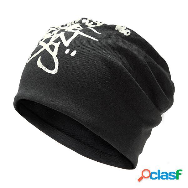 Unisex chapéu beanie estampado letras estilo casual hip-hop touca desportiva