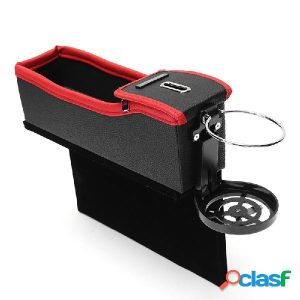 2pcs assento de carro gap storage bag coin box beverage suporte de copo leather flannel pocket seat pocket