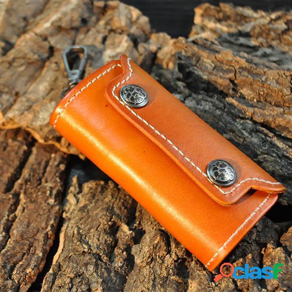 Bolsa de armazenamento de chave de carro zipper de couro retro business waist padlock card money holder