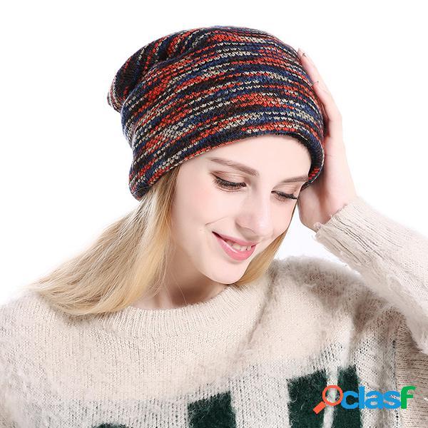 Chapéu de gorro quente tecido de lã confortável e grosso com listras chapéu ao ar livre e à prova de vento