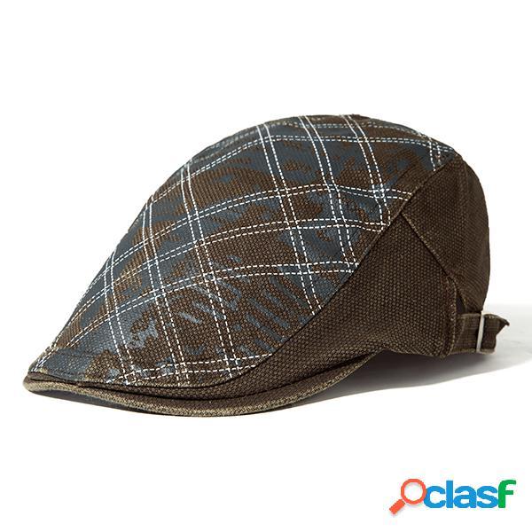 Chapéu masculino de boina de algodão ajustável com impressão chapéu casual ao ar livre quente e à prova do vento
