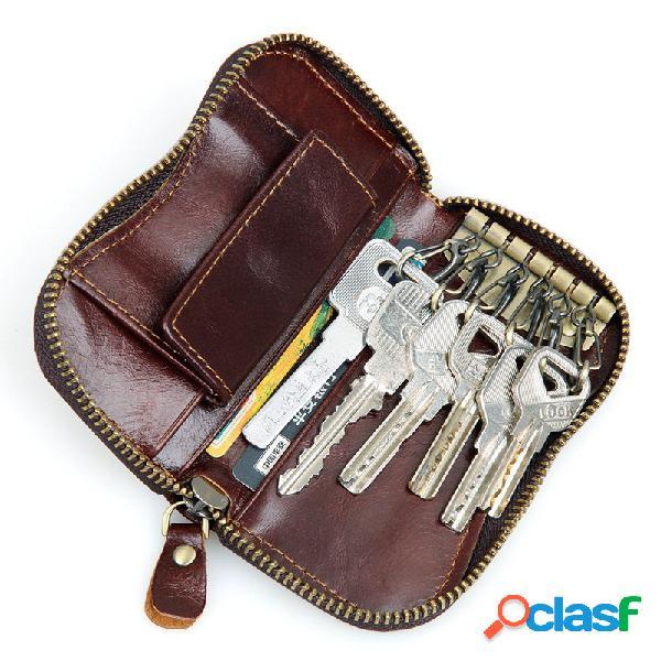 Chaves de couro para carro bolsa bolsa retrô com zíper carteiras de cartão com 6 ganchos para armazenamento com botão de moeda bolsa