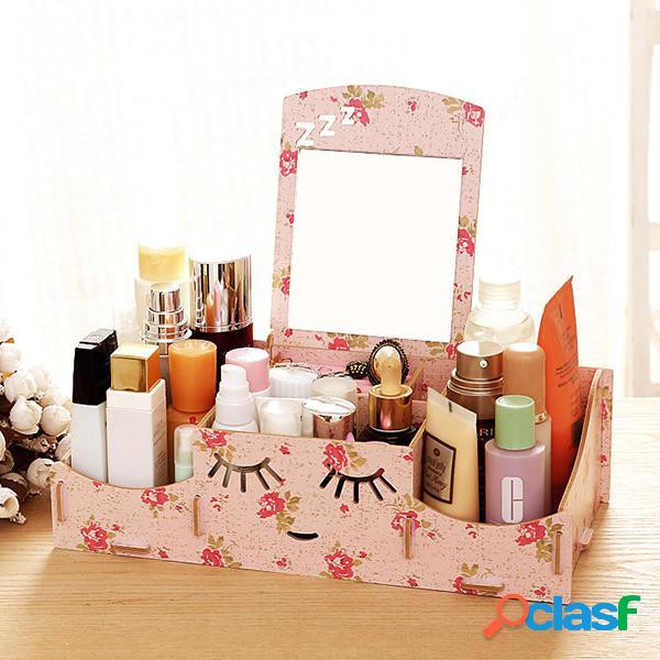Creative diy wooden cosmetic storage box contentor de armazenamento de mesa com espelho