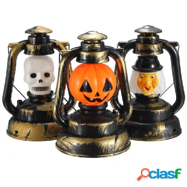 Lâmpada de halloween abóbora esqueleto bruxa sorriso com luz