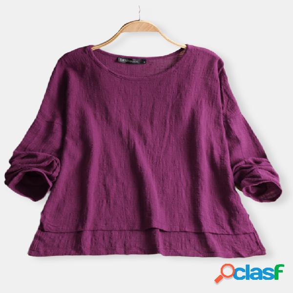 Blusa casual de cor pura e manga longa decote baixo para mulheres