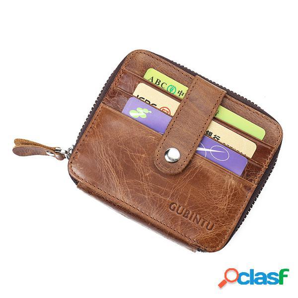 Carteira masculina de couro requintado vintage carteira com camada dupla e 12 portas para cartões