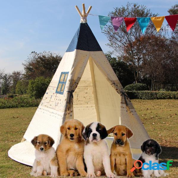 Large kids pet teepee canvas play tenda tipi bege ao ar livre com esteira de chão almofadada