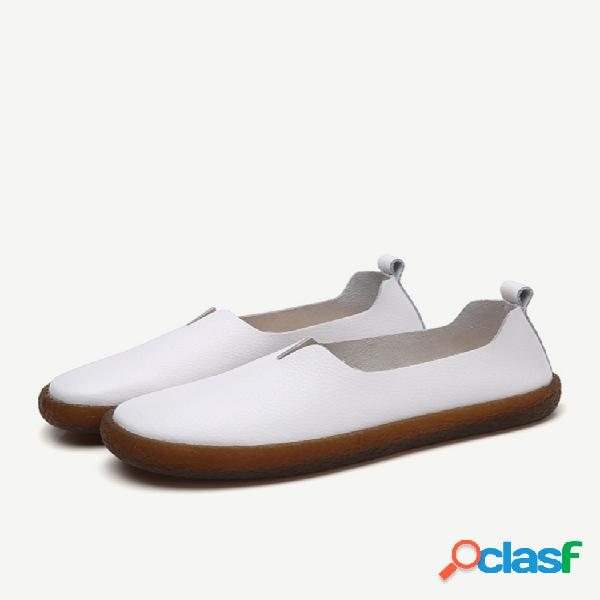 Sapatos de loafer de tamanho grande e couro requintado sapatos vintage planos para mulheres