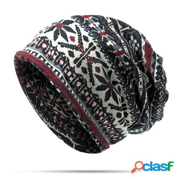 Unisex floppy ethnic hat algodão headband beanie collars chapéu keep warm cap casaco de dupla utilização