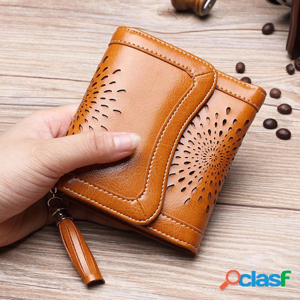 Carteira com três dobras da carteira retro de couro rachada das mulheres