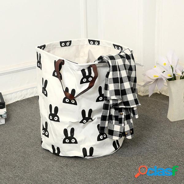 Cesta de armazenamento de roupa suja de lona para bebês brinquedos infantis cesta alça de couro