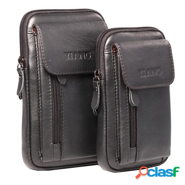 "Genuine leather 5.5-7 ""bolsa para celular saco de cintura crossbody bag para homens"