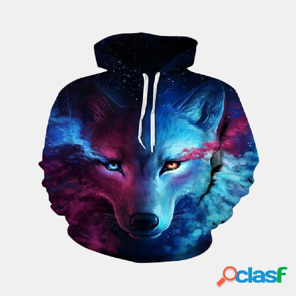Moletom 3d estrela lobo estampado digital com capuz