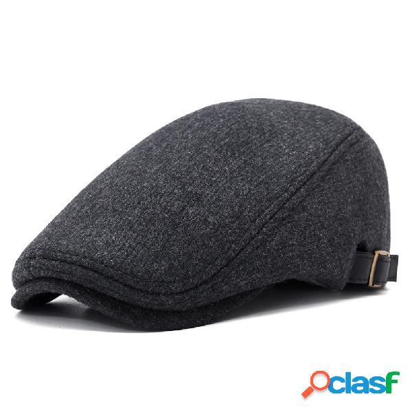 Boné boina grossa quente de lã ajustável casual sólida