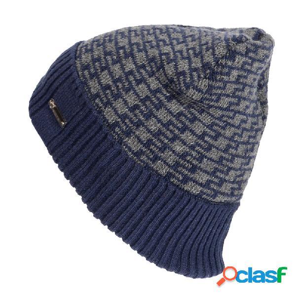 Homens de inverno plus veludo geométrico padrão malha chapéu skullies beanie ao ar livre à prova de vento quente chapéu