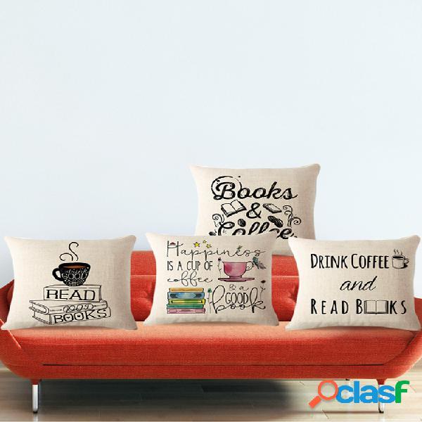 Almofada temática de livros para café caso cadeira sofá assento traseira capa de almofada decoração de casa