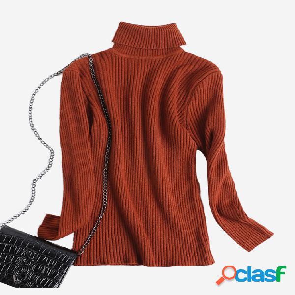 Camisola de malha casual de cor sólida com gola alta para mulheres