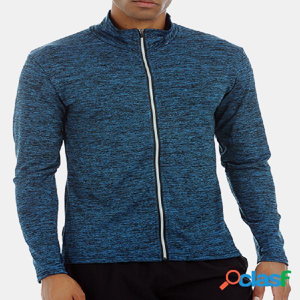 Mens de secagem rápida respirável zip up tops manga comprida t-shirt de treinamento esportivo
