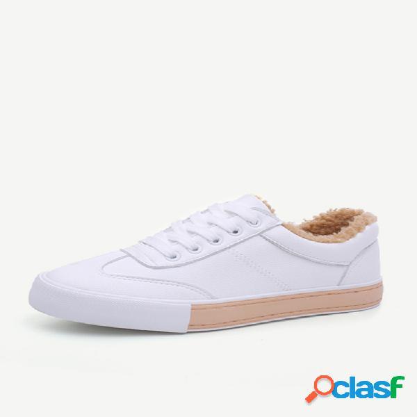 M.general pelúcia quente pele interior tênis sapatos planas casuais