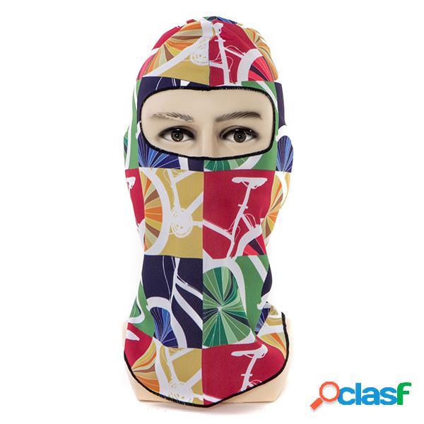 Masculino feminino respirável ao ar livre esqui ciclismo pescoço rosto inteiro máscara chapéu impressão quente à prova de vento máscara