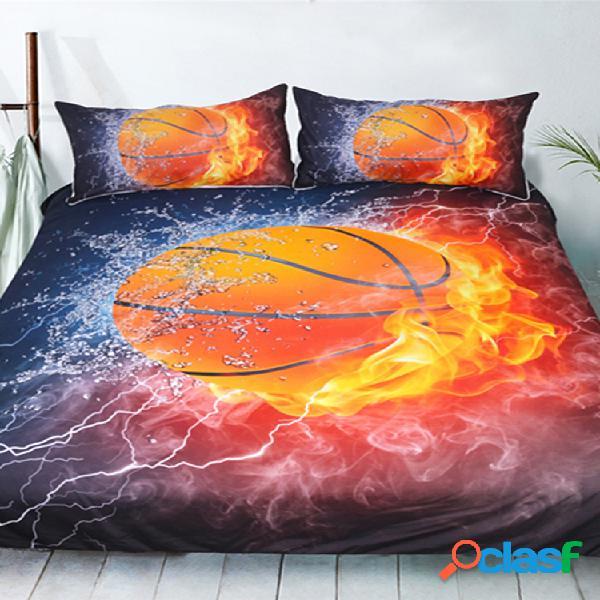 Conjunto de capa de edredon 3d exclusivo para basquete fire impresso conjunto de roupa de cama para crianças de esportes infantis us 3 unidades
