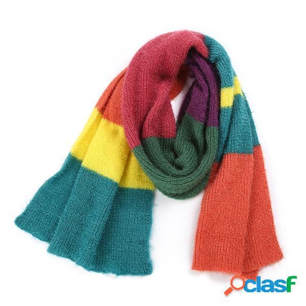 Lenço tricotado listrado quente confortável feminino cor de arco-íris