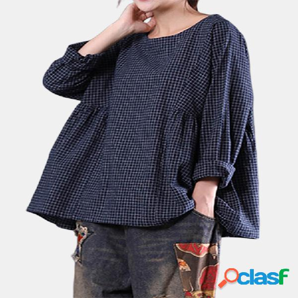 Loose blusa axadrezada feminina manga longa gola redonda