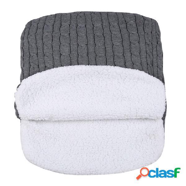 Bebê dormindo bolsa inverno quente lã tricotada capuz envoltório bonito soft cobertor infantil