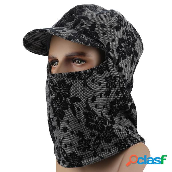 Men women warm thick jacquard boné de beisebol com earmuffs windproof hooded neck face mask hat