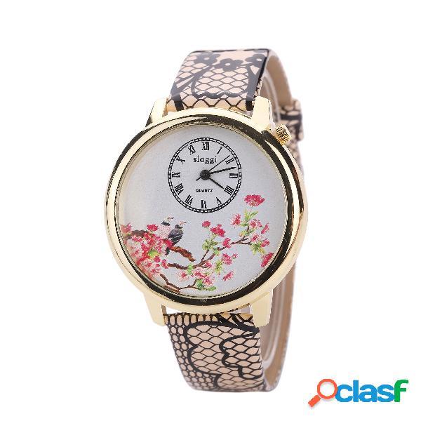 Relógio de pulso vintage padrão de pássaro de flor pele de serpente pu couro relógios de couro feminino