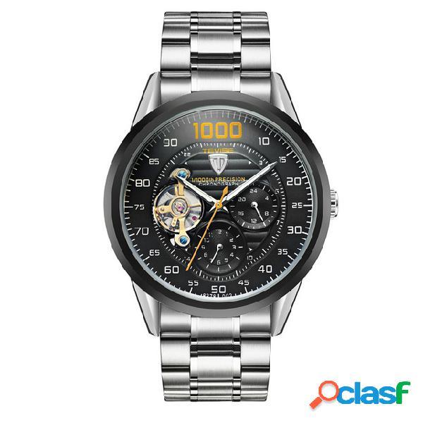 Tevise luxury automatic men business relógio de pulso relógio mecânico de aço inoxidável para ele
