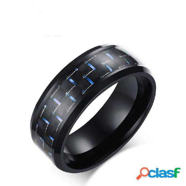8mm anel masculino aço inoxidável fibra de carbono