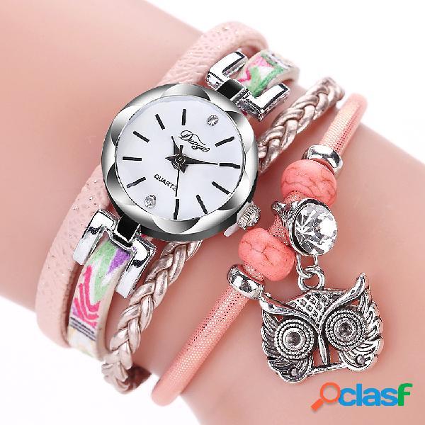 Relógio multicamada boêmico coruja decorativa pulseira de couro