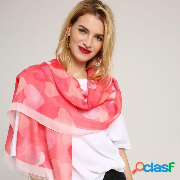 180 cm mulheres mistura de algodão amor impresso longo soft cachecol casual fino quente xale cachecóis