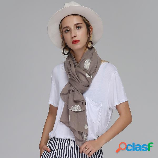 Lenço de algodão vintage confortável longo feminino bolinhas bordadas