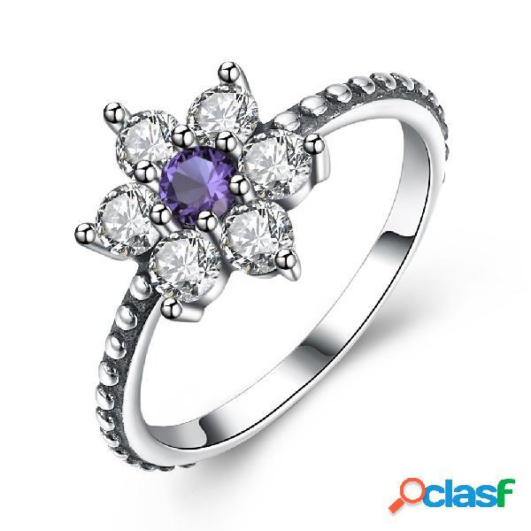 Luxo 925 anéis de prata esterlina flower zirconia anel de noivado dia dos namorados gift for girl mulheres