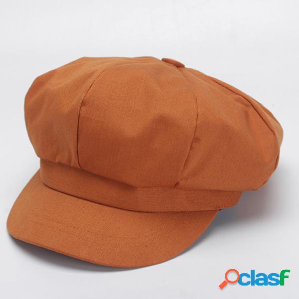 Mulheres cor sólida algodão octagonal cap beret cap elegante moda casual chapéus chapéu do pintor