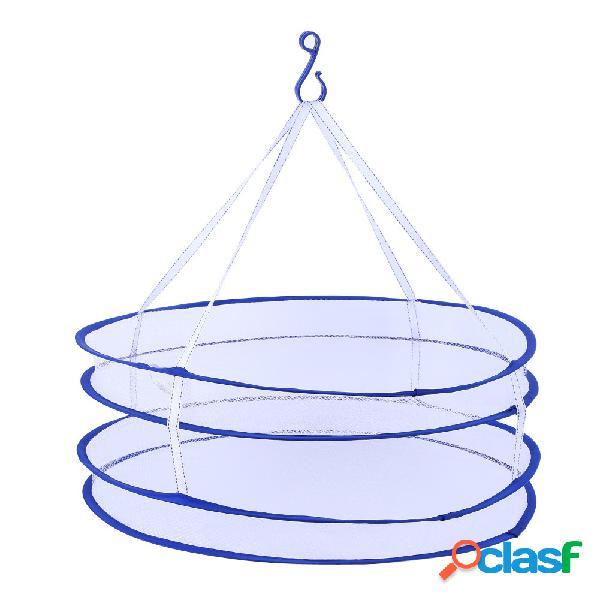 2 camadas de roupas de secagem de rack de secagem saco de lavanderia dobrando pendurado roupa de suspensão lavanderia cesta