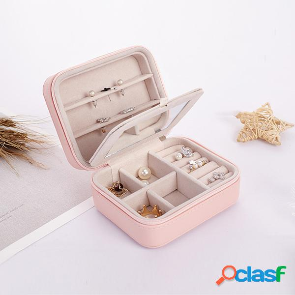 Caixa de armazenamento portátil de jóias de brincos pequenos