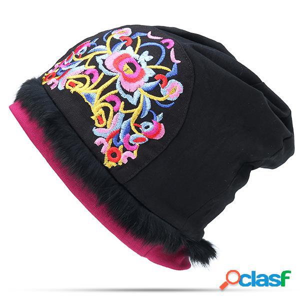 Mulheres estilo étnico sabor nacional fino algodão respirável beanie chapéu flor bordado turbante cap