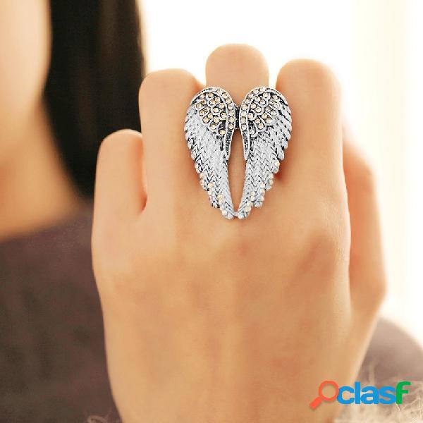 Asas do anjo do punk anel declaração completa rhinestone ajustável anéis de noivado exclusivo para as mulheres